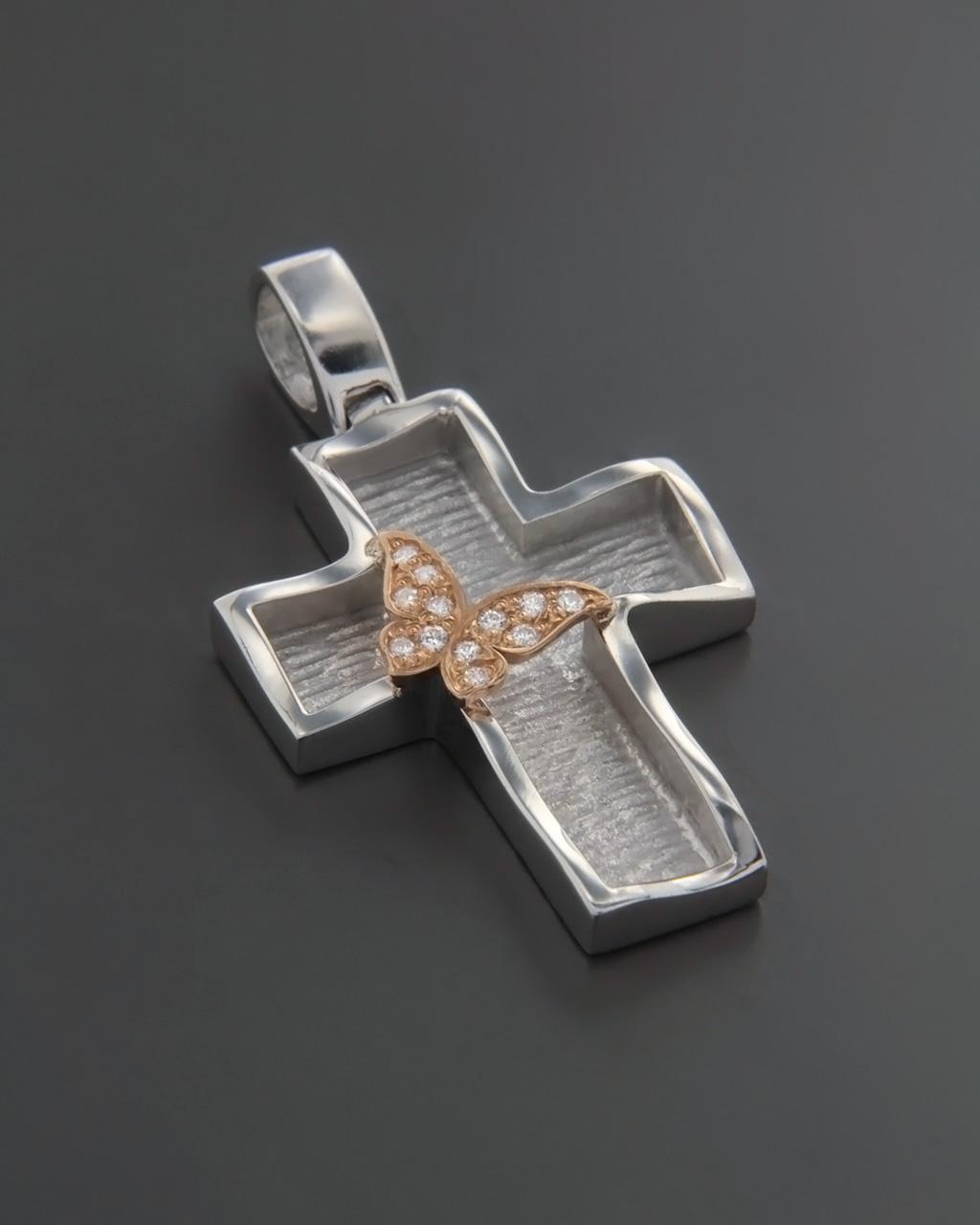 Σταυρός βαπτιστικός λευκόχρυσος & ροζ χρυσός Κ14 με Ζιργκόν   γυναικα σταυροί σταυροί λευκόχρυσοι