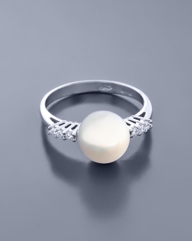 Δαχτυλίδι λευκόχρυσο Κ18 με Mαργαριτάρι & Ζιργκόν   ζησε το μυθο μονόπετρα μονοπετρα με ζιργκόν