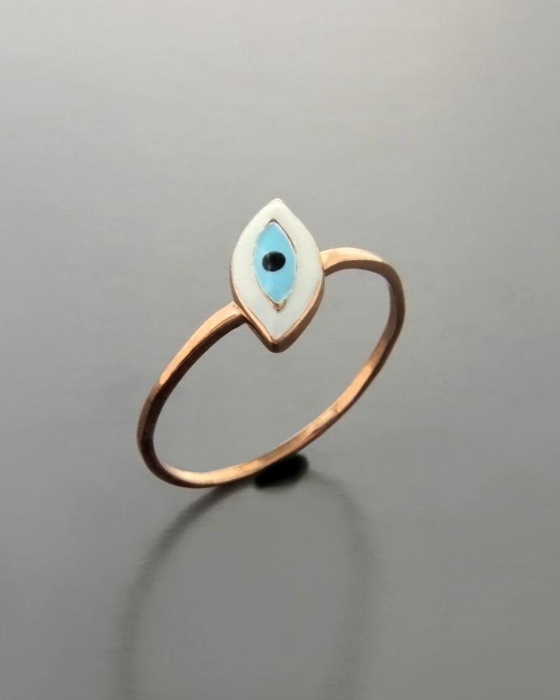 Δαχτυλίδι ματάκι ασημένιο με Σμάλτο   γυναικα δαχτυλίδια δαχτυλίδια ασημένια