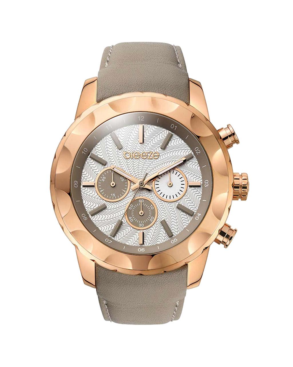 Ρολόι BREEZE Midtown Cocktail Grey Leather Strap 110261.7   προσφορεσ ρολόγια ρολόγια από 100 έως 300ε