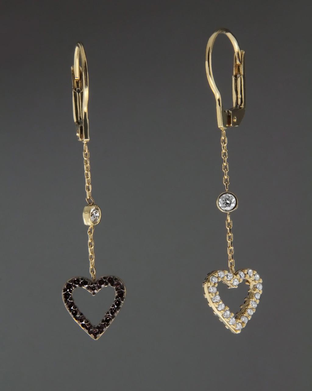 Σκουλαρίκια καρδιές χρυσά με Ζιργκόν   γυναικα κοσμήματα με καρδιές
