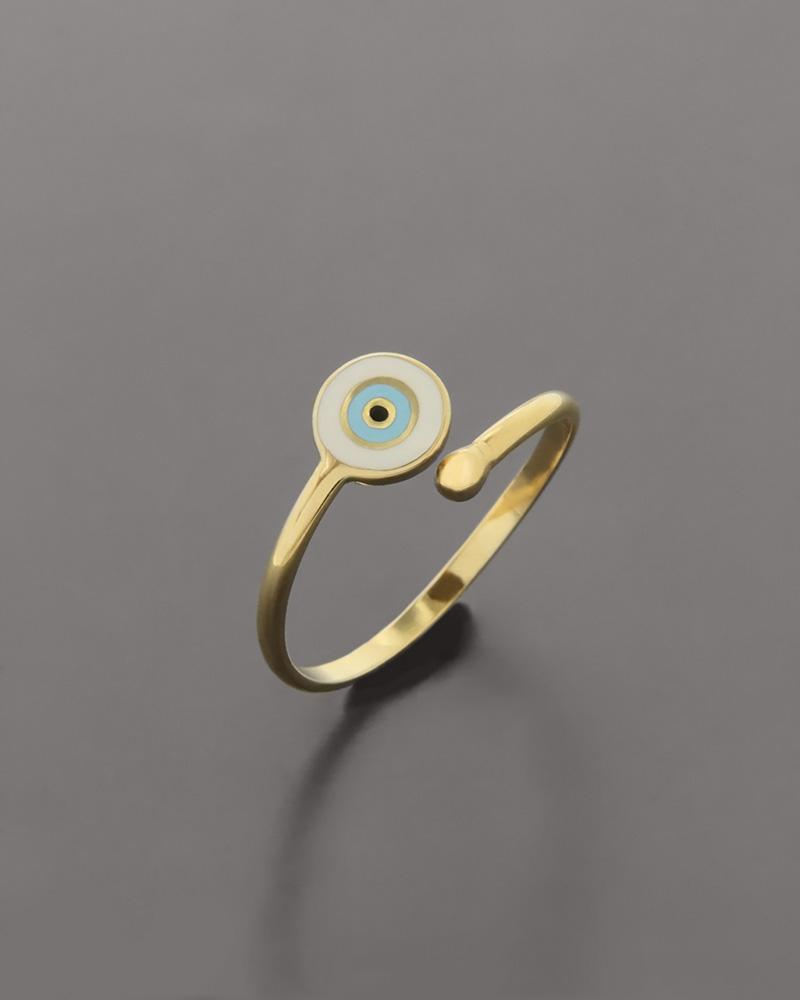 Δαχτυλίδι ματάκι χρυσό Κ14 με Σμάλτο   κοσμηματα δαχτυλίδια χρυσά