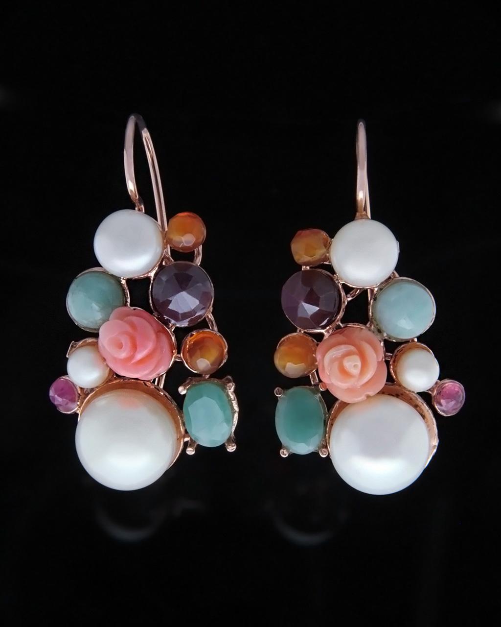 Κρεμαστά σκουλαρίκια με κλιπ Barocco   γυναικα σκουλαρίκια σκουλαρίκια ημιπολύτιμοι λίθοι