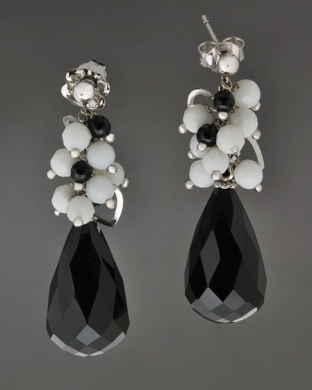 Σκουλαρίκια λευκόχρυσα Κ18 με όνυχα   γυναικα σκουλαρίκια σκουλαρίκια ημιπολύτιμοι λίθοι