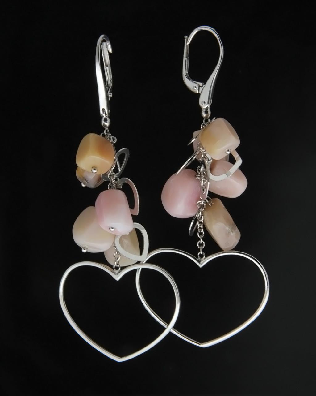 Κρεμαστά σκουλαρίκια λευκόχρυσα Κ18 με Χαλαζία   γυναικα κοσμήματα με καρδιές