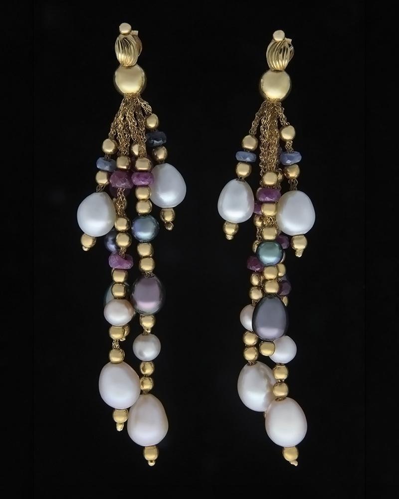 Κρεμαστά σκουλαρίκια χρυσά Κ18 με Ζαφείρια, Ρουμπίνια & Μαργαριτ   νεεσ αφιξεισ κοσμήματα γυναικεία