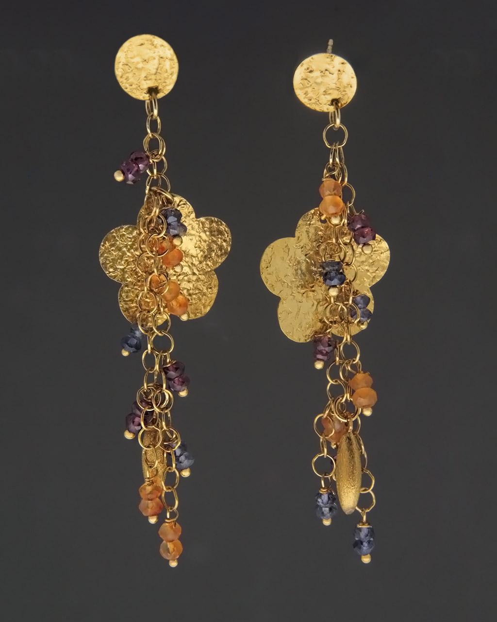 Κρεμαστά σκουλαρίκια χρυσά Κ18 με Ζαφείρια & Ρουμπίνια   νεεσ αφιξεισ κοσμήματα γυναικεία
