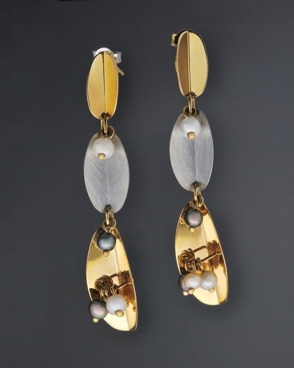 Κρεμαστά σκουλαρίκια χρυσά & λευκόχρυσα Κ14 με Μαργαριτάρια   γυναικα σκουλαρίκια σκουλαρίκια ημιπολύτιμοι λίθοι