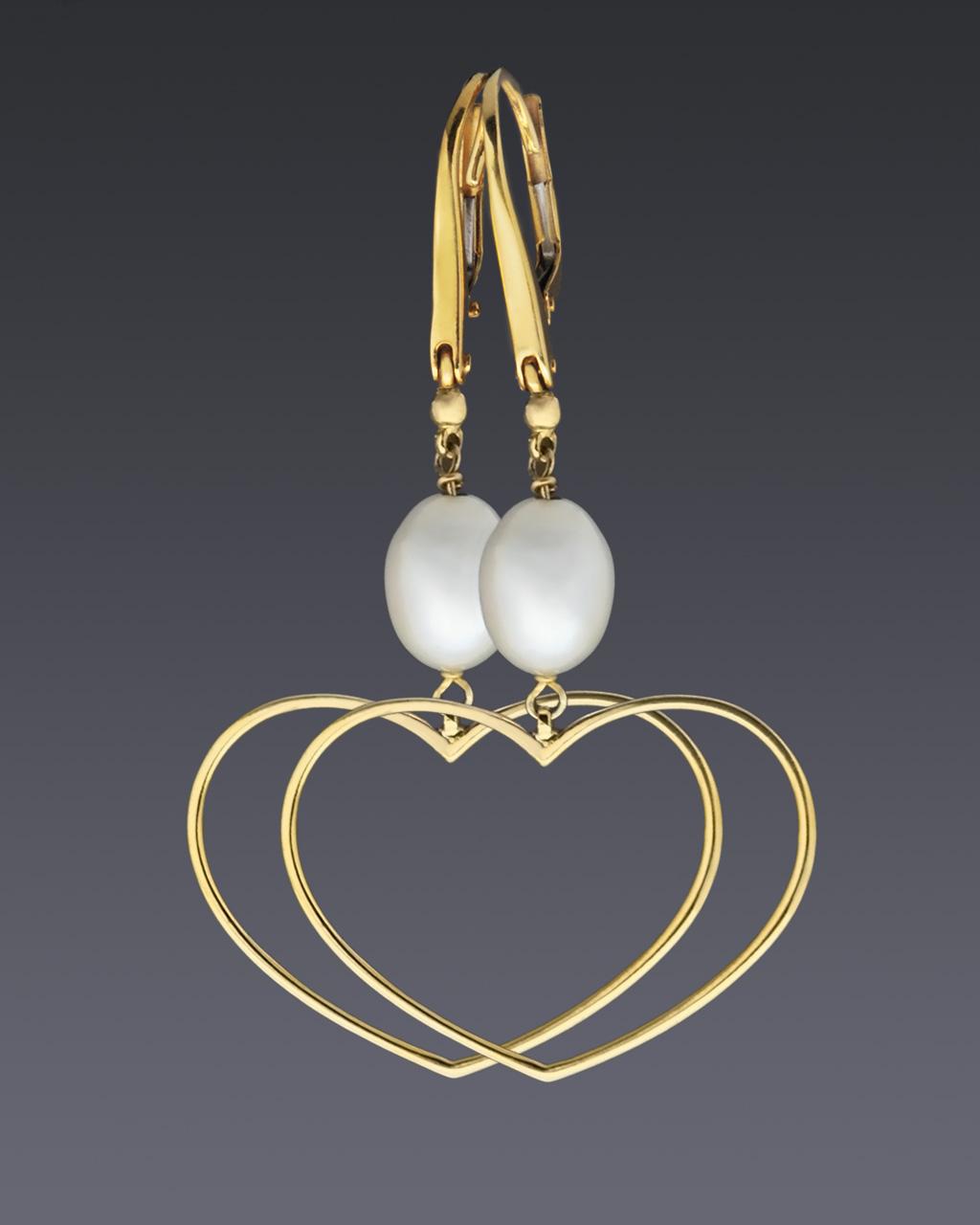 Κρεμαστά σκουλαρίκια καρδιές χρυσά Κ14 με Μαργαριτάρια   γυναικα σκουλαρίκια σκουλαρίκια χρυσά