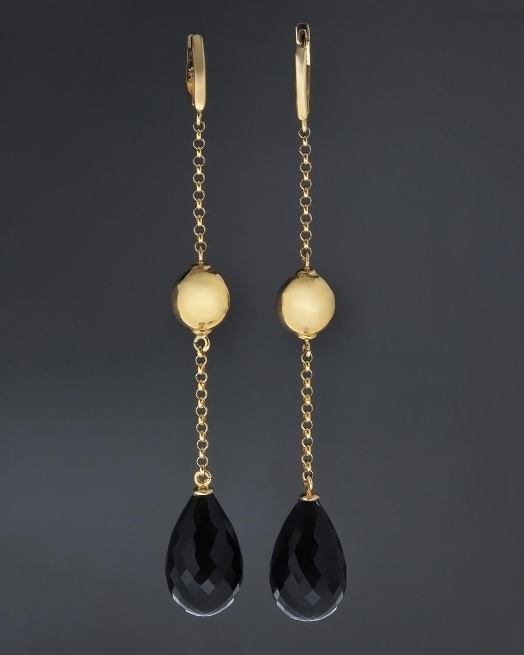 Κρεμαστά σκουλαρίκια χρυσά Κ14 με Όνυχα   γυναικα σκουλαρίκια σκουλαρίκια ημιπολύτιμοι λίθοι