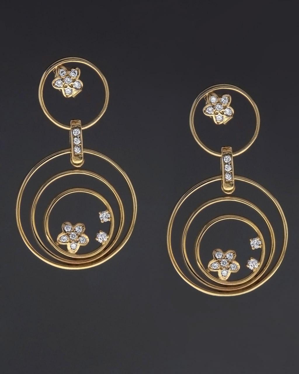 Σκουλαρίκια Κρίκοι χρυσά Κ18 με Διαμάντια   γυναικα σκουλαρίκια σκουλαρίκια κρίκοι