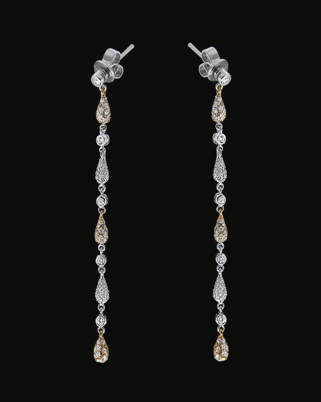 Σκουλαρίκια λευκόχρυσα & ροζ χρυσά Κ18 με Διαμάντια   ζησε το μυθο νυφικό κόσμημα