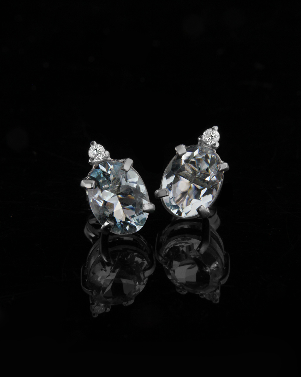 Σκουλαρίκια λευκόχρυσα Κ18 με Διαμάντια & Τοπάζι   γαμοσ νυφικό κόσμημα