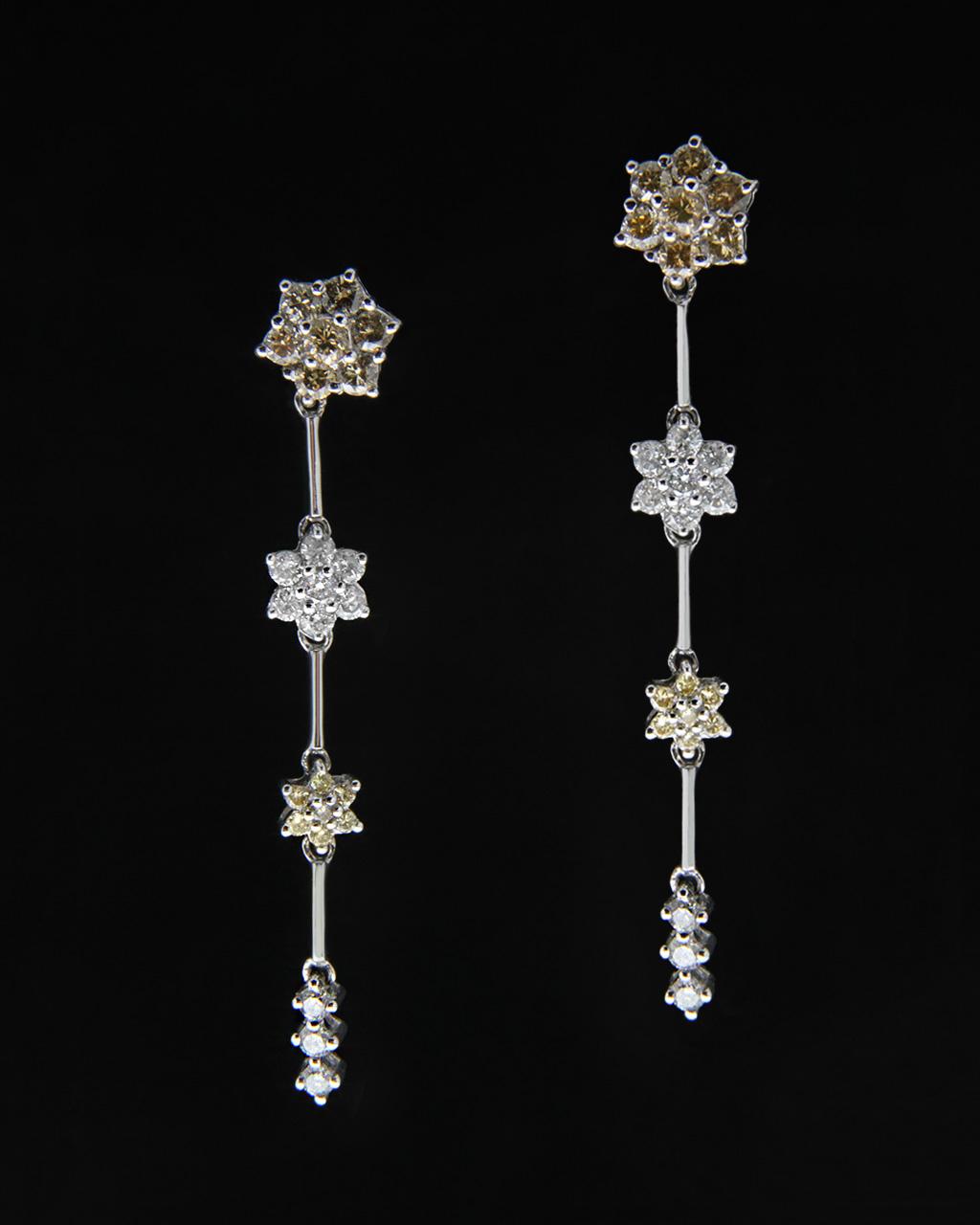 Σκουλαρίκια λευκόχρυσα Κ18 με Διαμάντια   ζησε το μυθο νυφικό κόσμημα