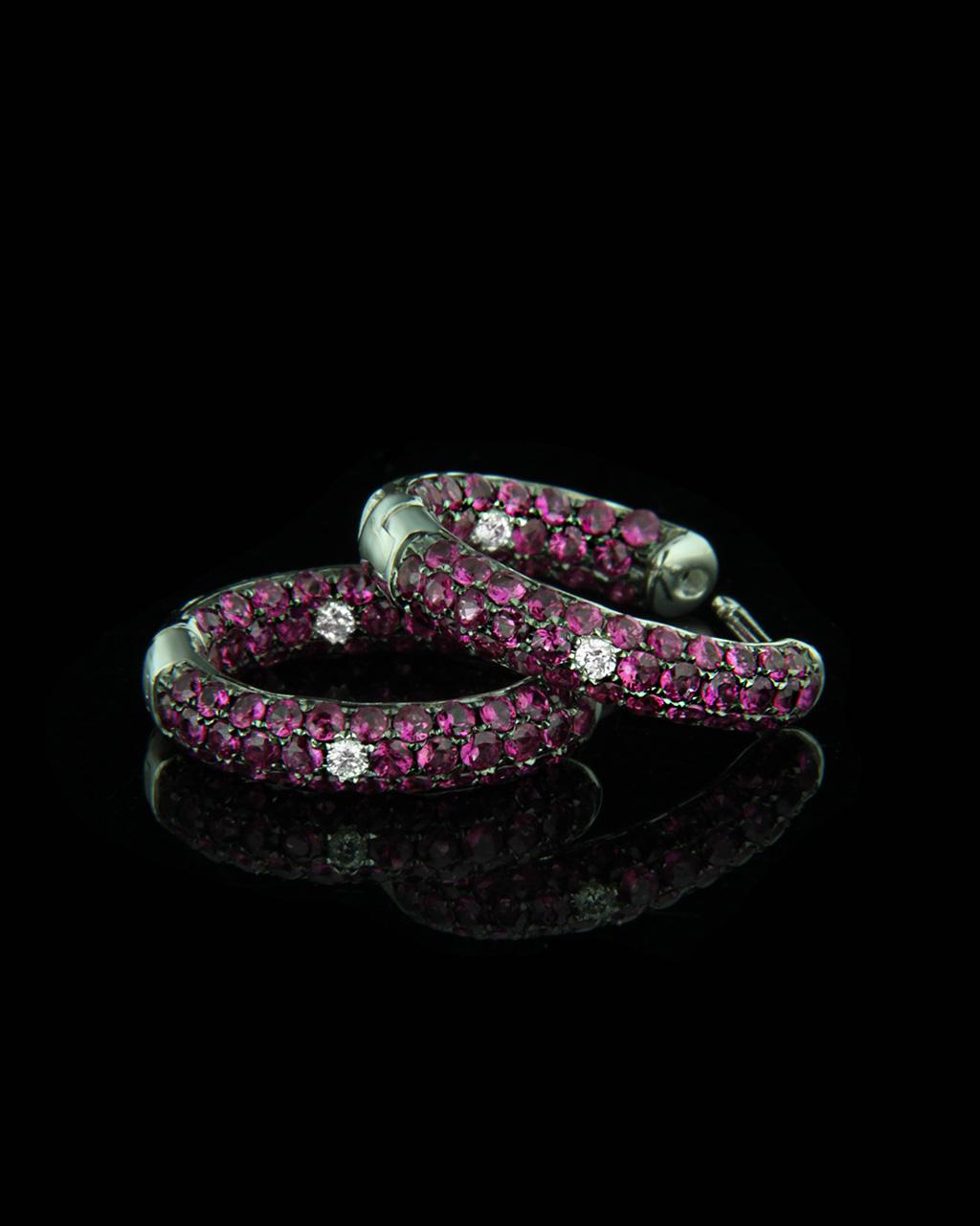Σκουλαρίκια Κρίκοι λευκόχρυσα Κ18 με Διαμάντια & Ρουμπίνια   γυναικα σκουλαρίκια σκουλαρίκια κρίκοι
