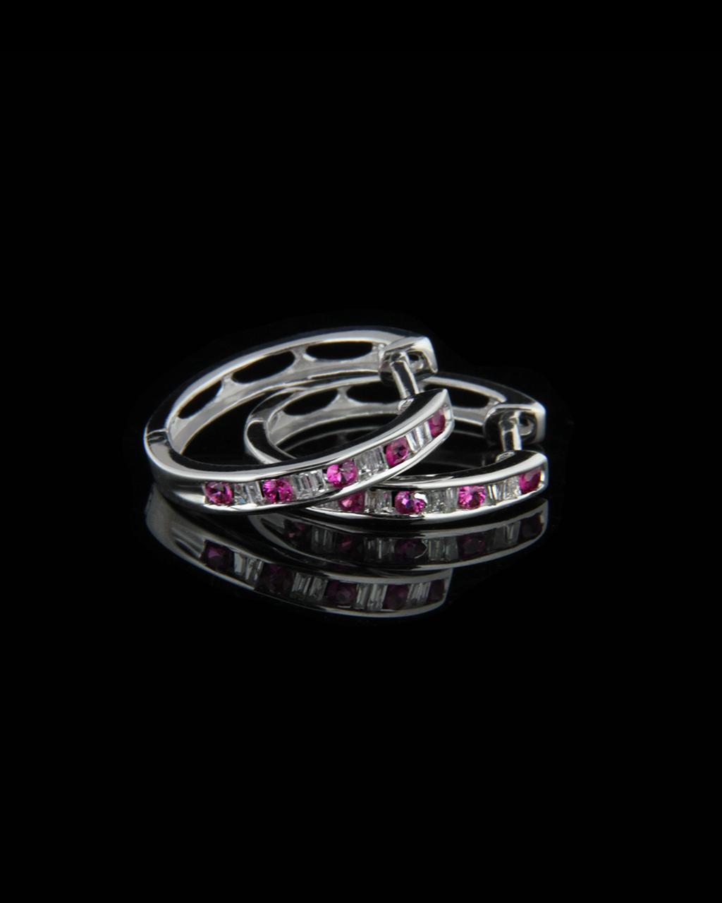 Σκουλαρίκια λευκόχρυσα Κ18 με Διαμάντια & Ρουμπίνια   γυναικα σκουλαρίκια σκουλαρίκια κρίκοι