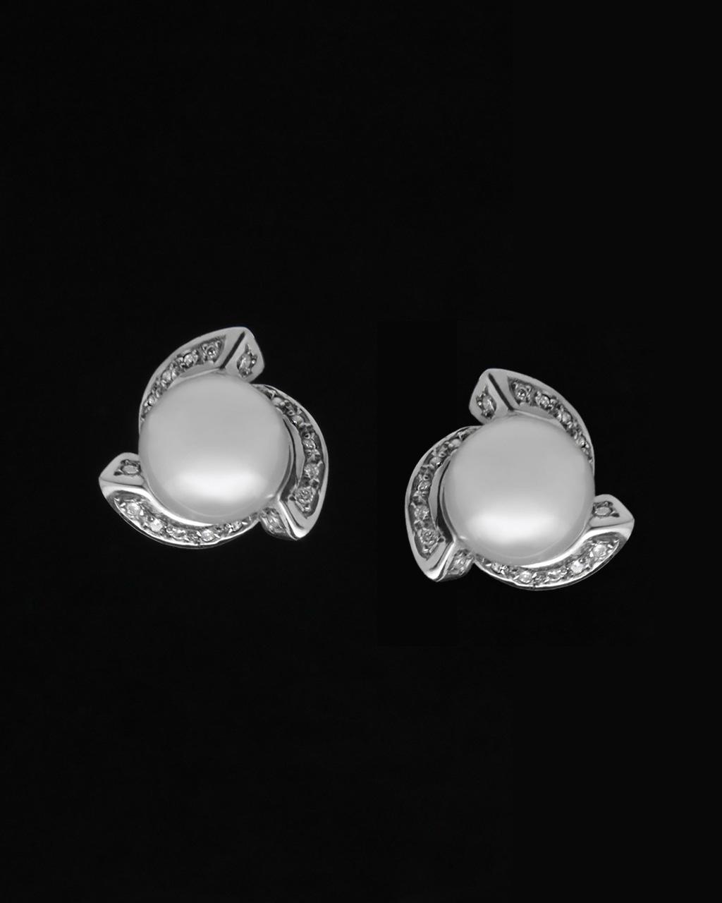 Σκουλαρίκια λευκόχρυσα Κ18 με Διαμάντια & Μαργαριτάρια