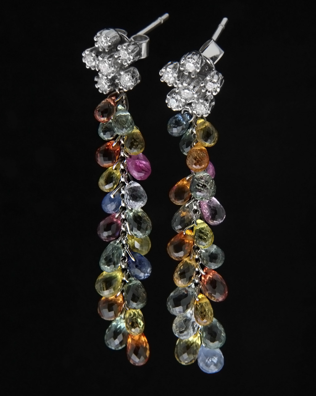 Σκουλαρίκια λευκόχρυσα Κ18 με Διαμάντια & Τουρμαλίνες