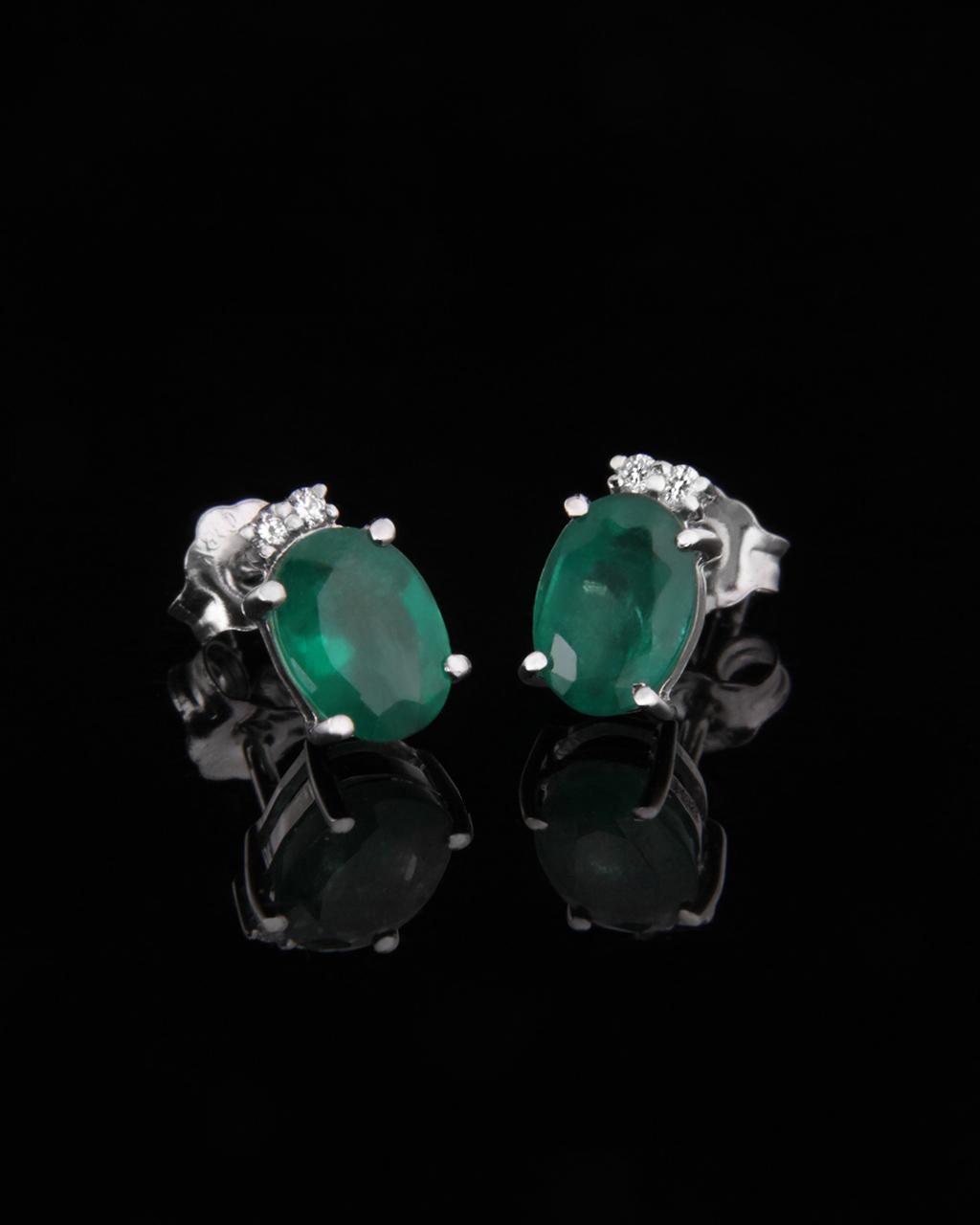 Σκουλαρίκια λευκόχρυσα Κ18 με Διαμάντια & Σμαράγδια   γυναικα σκουλαρίκια σκουλαρίκια με διαμάντια