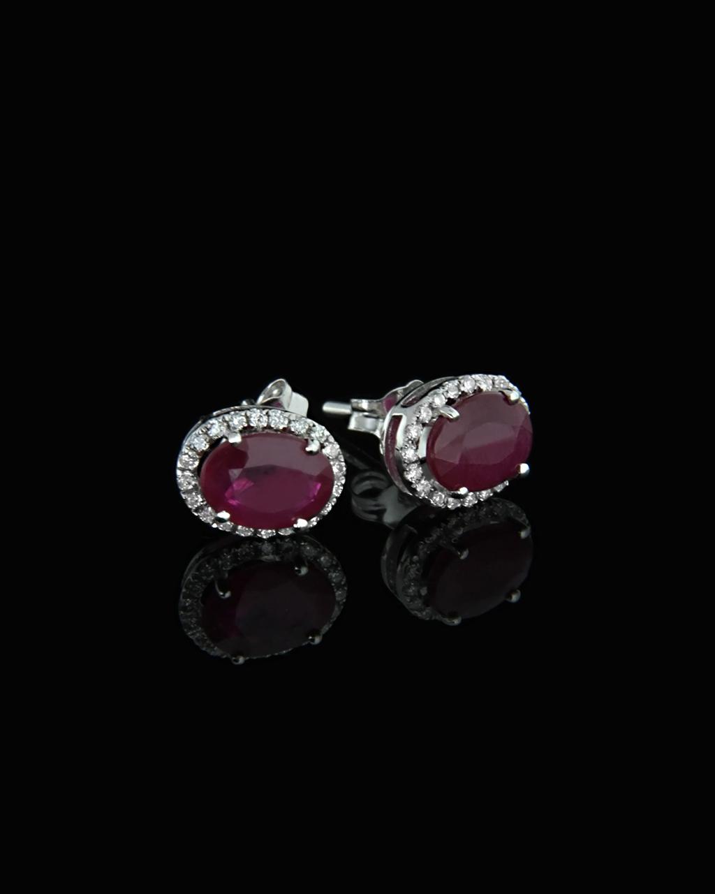 Σκουλαρίκια λευκόχρυσα Κ18 με Διαμάντια & Ρουμπίνια   γυναικα σκουλαρίκια σκουλαρίκια με διαμάντια