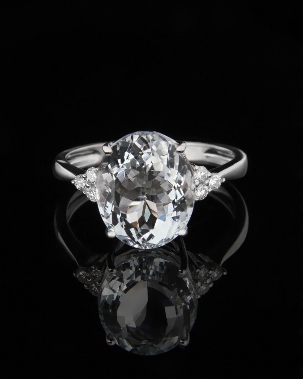 Δαχτυλίδι λευκόχρυσο με Aqua marina & Διαμάντια   γυναικα δαχτυλίδια μονόπετρα με διαμάντια