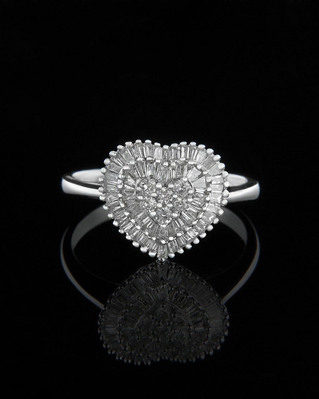 Δαχτυλίδι καρδιά λευκόχρυσο με Διαμάντια   κοσμηματα δαχτυλίδια μονόπετρα με διαμάντια