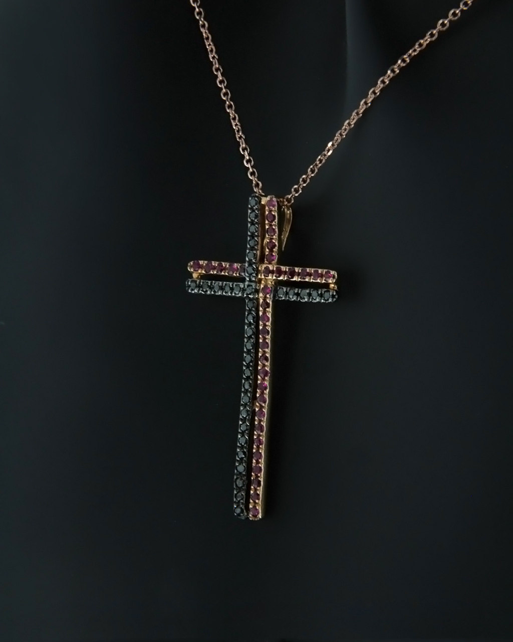 Σταυρός ροζ χρυσός Κ18 με Διαμάντια & Ρουμπίνια   παιδι βαπτιστικοί σταυροί βαπτιστικοί σταυροί για κορίτσι