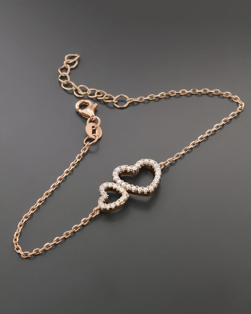 Βραχιόλι Καρδιές Ασημένιο με Ζιργκόν   κοσμηματα κοσμήματα με καρδιές