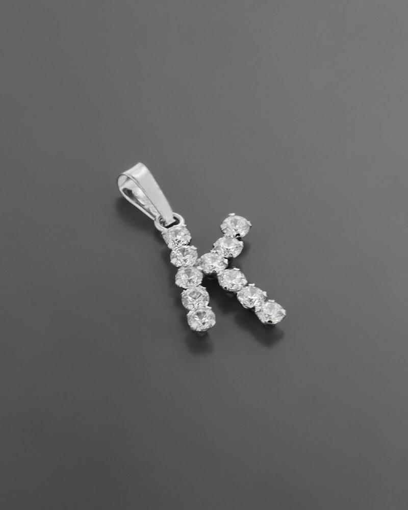 """Μονόγραμμα """"Κ"""" Λευκόχρυσο Κ18 με Ζιργκόν   κοσμηματα κρεμαστά κολιέ κρεμαστά κολιέ μονόγραμμα"""