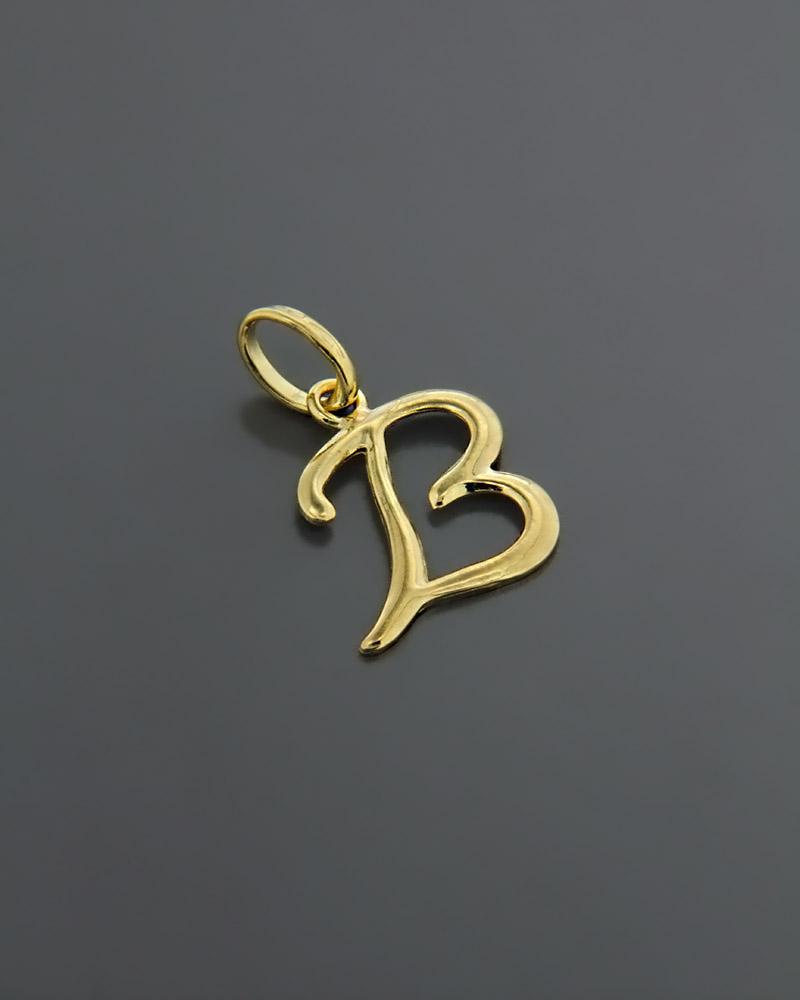 """Μενταγιόν μονόγραμμα """"B"""" χρυσό Κ18   γυναικα κρεμαστά κολιέ κρεμαστά κολιέ μονόγραμμα"""
