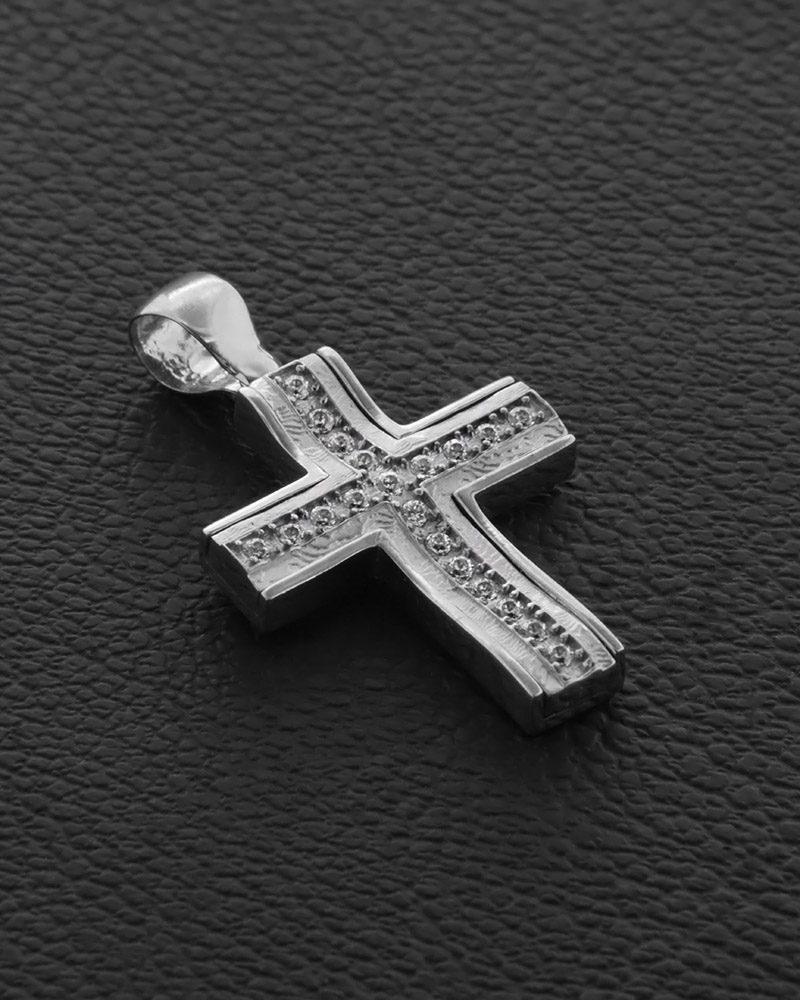 Βαπτιστικός Σταυρός δυο όψεων Λευκόχρυσος Κ9 με Ζιργκόν   παιδι βαπτιστικοί σταυροί βαπτιστικοί σταυροί για κορίτσι