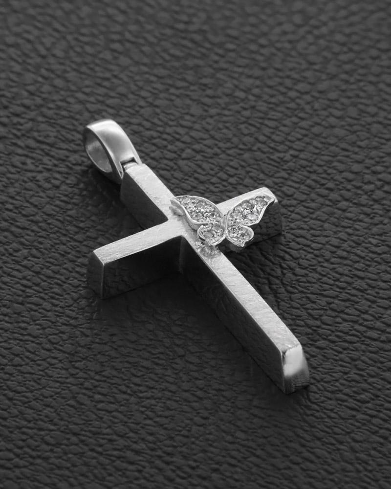 Βαπτιστικός Σταυρός Λευκόχρυσος Κ14   κοσμηματα σταυροί σταυροί λευκόχρυσοι