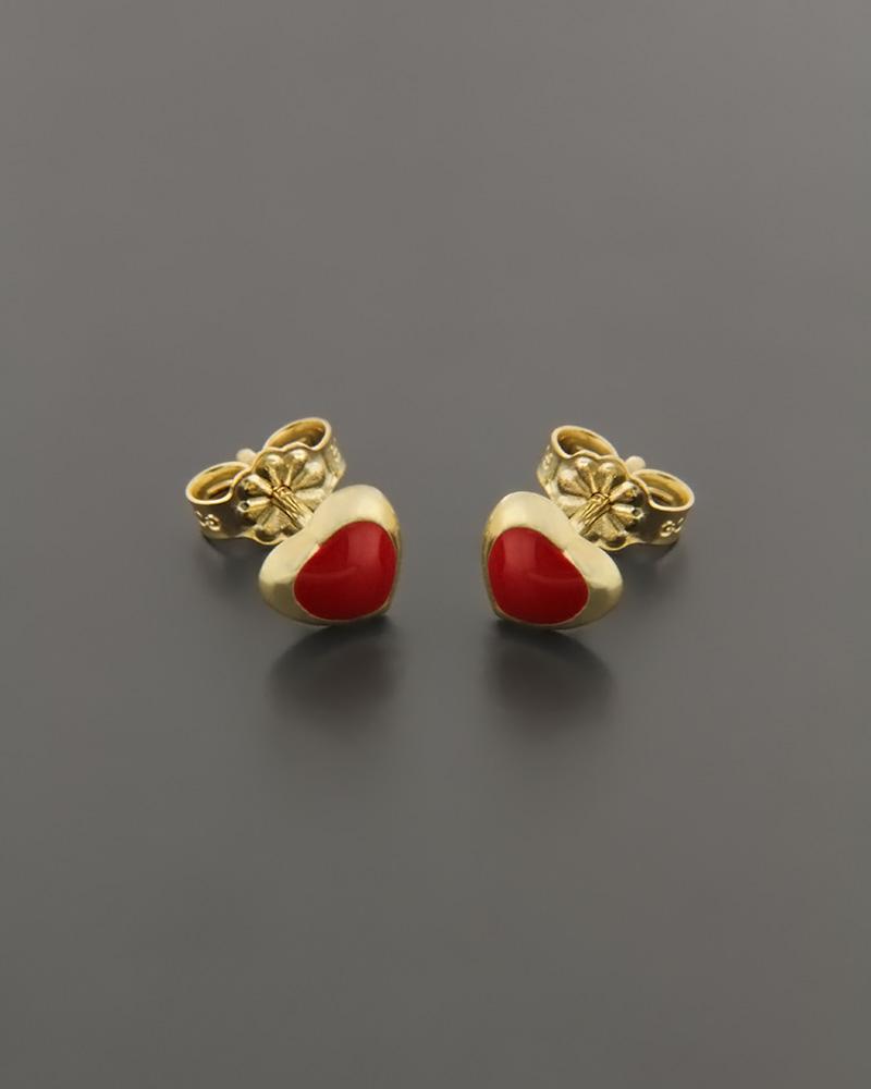 Σκουλαρίκια παιδικά χρυσά Κ9 με Σμάλτο   κοσμηματα κοσμήματα με καρδιές