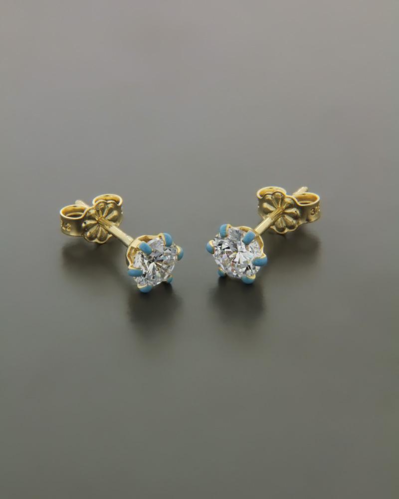 Σκουλαρίκια χρυσά Κ9 με Ζιργκόν & Σμάλτο   παιδι σκουλαρίκια παιδικά