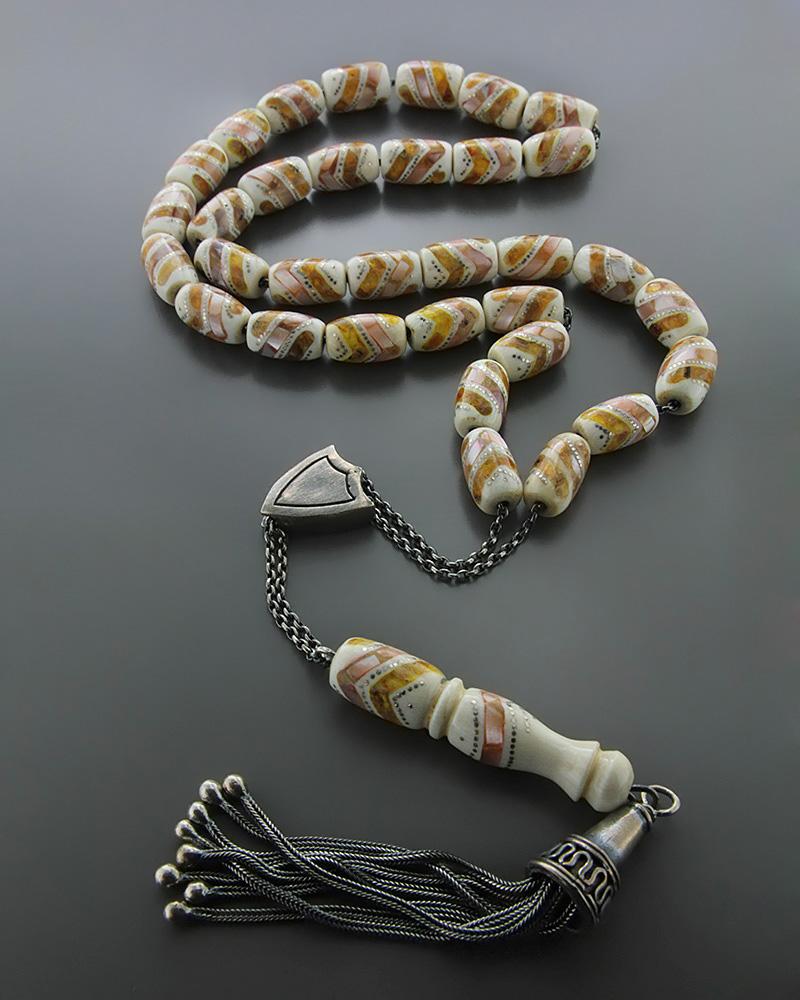 Κομπολόι από Ελεφαντόδοντο, Φίλντισι & Κεχριμπάρι   δωρα κομπολόγια