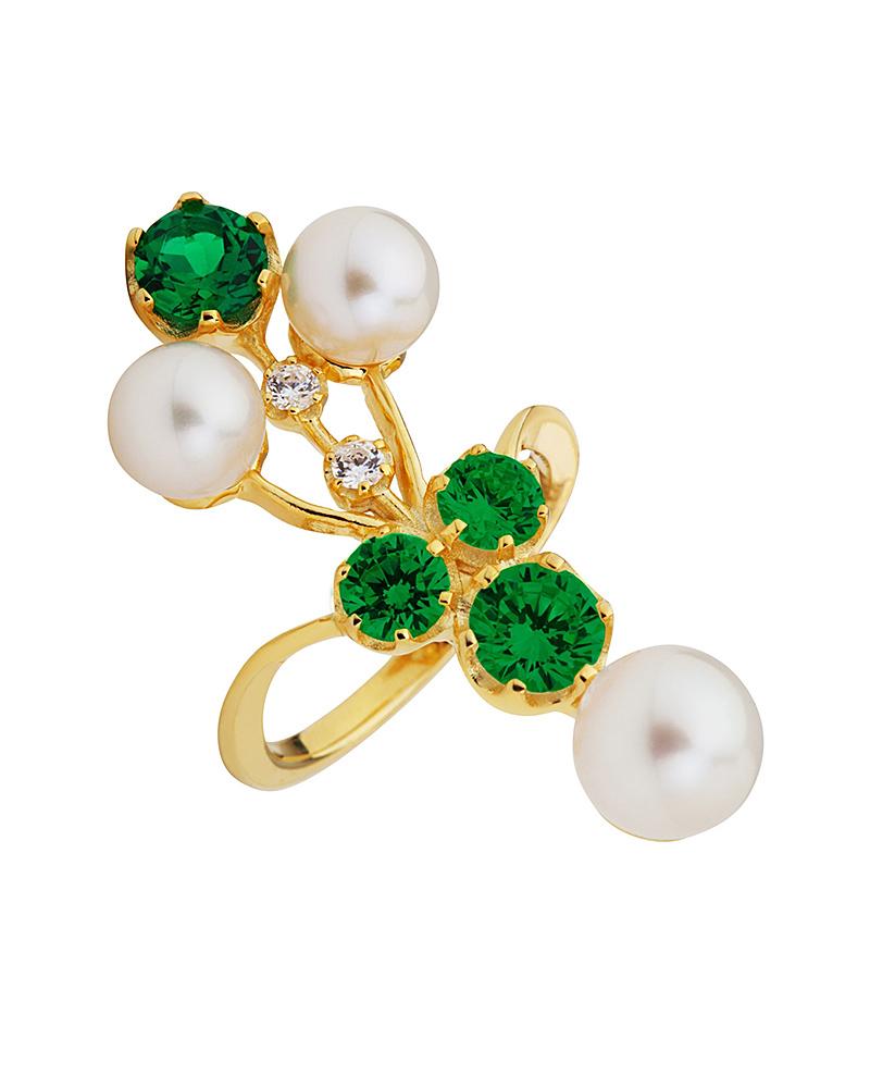 Fashion Δαχτυλίδι απο ασήμι με Μαργαριτάρια & Ζιργκόν AD03543   κοσμηματα δαχτυλίδια δαχτυλίδια μαργαριτάρια
