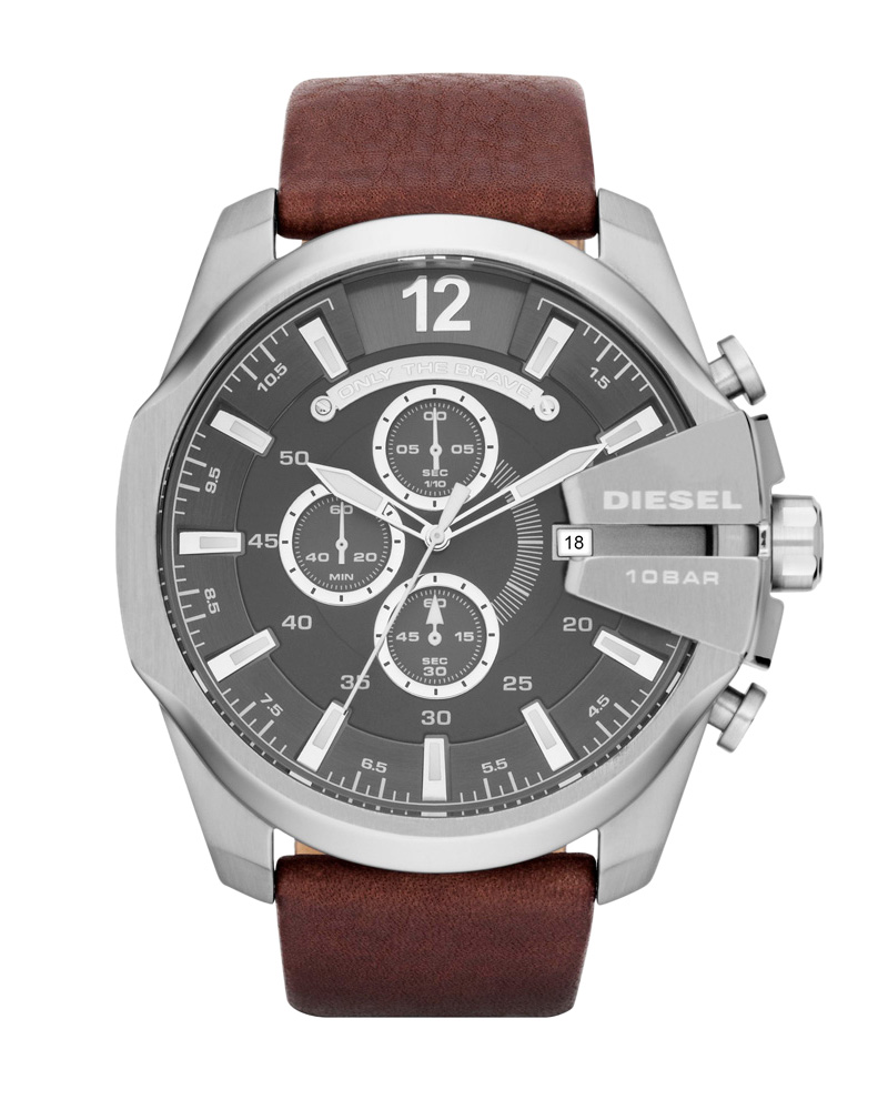 Ρολόι DIESEL Analogue Brown Leather Strap DZ4290   brands diesel