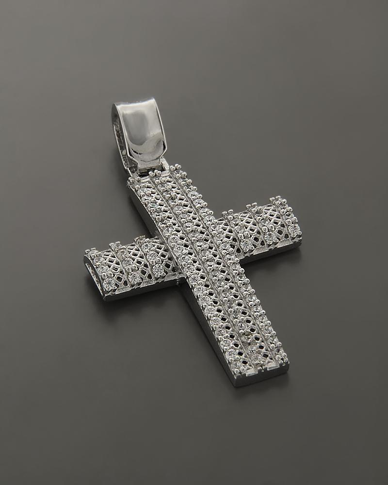 Σταυρός βαπτιστικός λευκόχρυσος Κ14 με Ζιργκόν   παιδι βαπτιστικοί σταυροί βαπτιστικοί σταυροί για κορίτσι