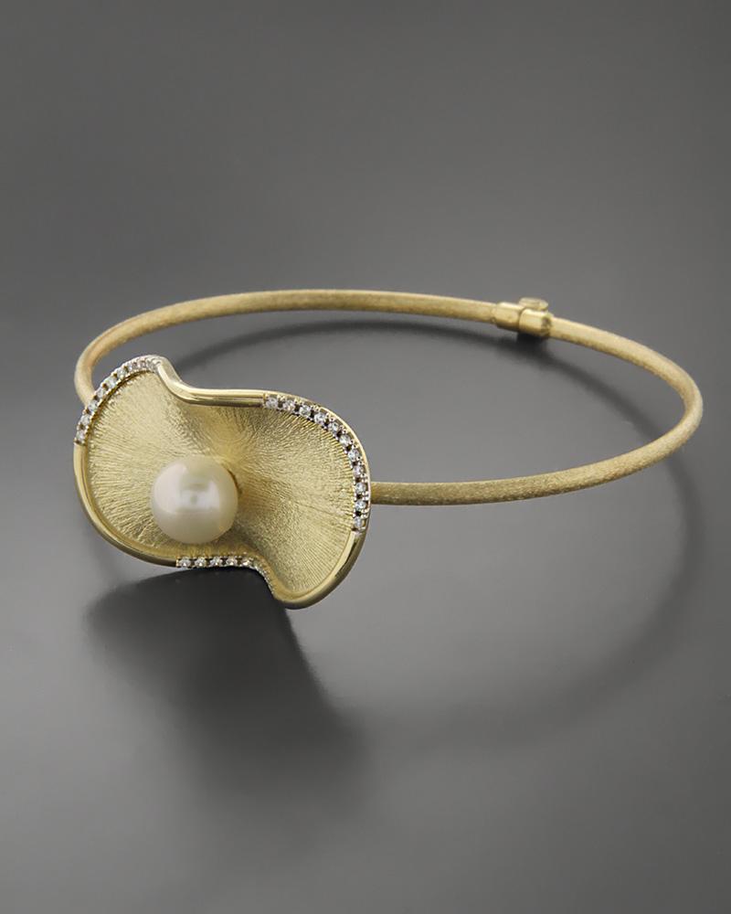 Βραχιόλι χρυσό Κ14 με Μαργαριτάρι & Ζιργκόν   γυναικα βραχιόλια βραχιόλια χρυσά