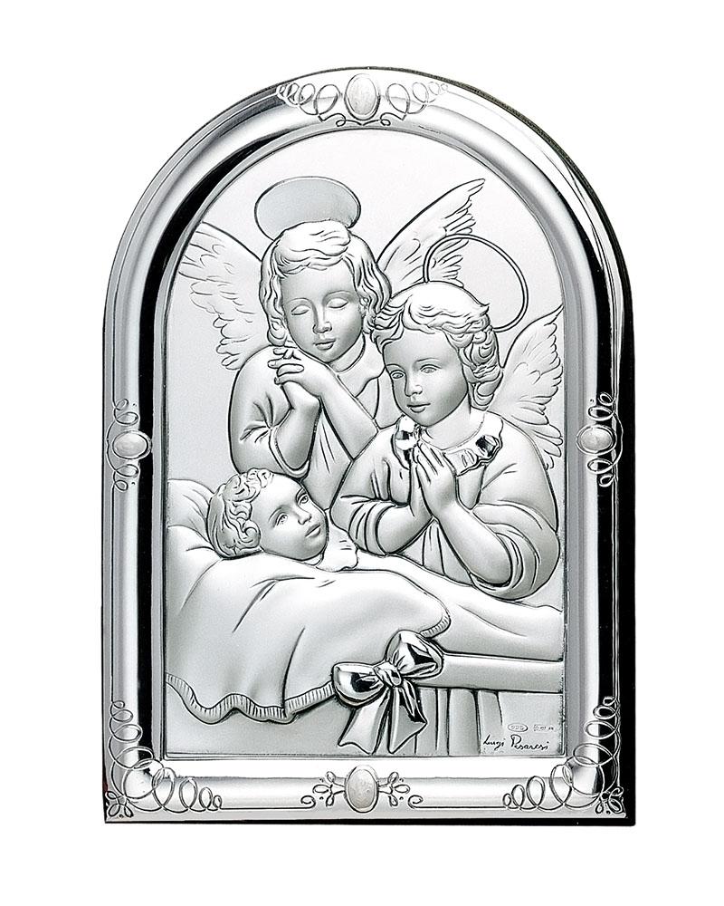 Εικόνα Ασημένια με τον Χριστό & Αγγέλους DE01729   δωρα εικόνες