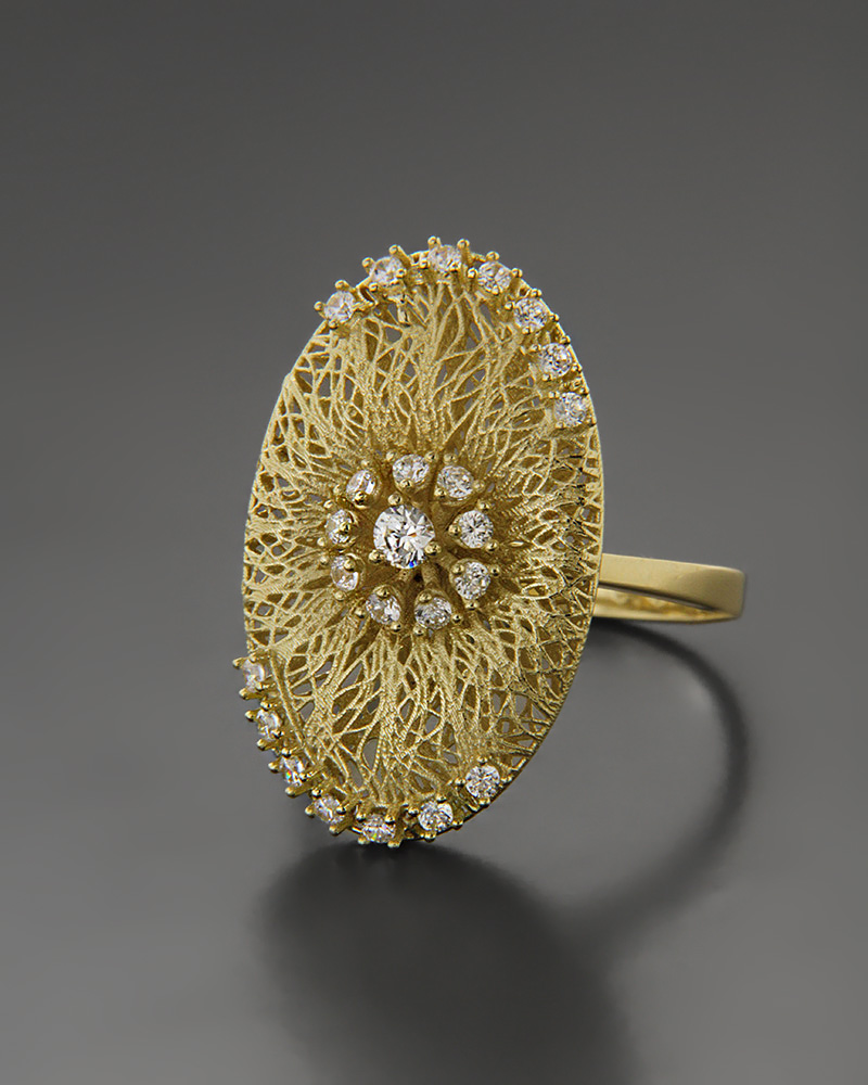 Δαχτυλίδι χρυσό Κ14 με Zιργκόν   γυναικα δαχτυλίδια δαχτυλίδια χρυσά