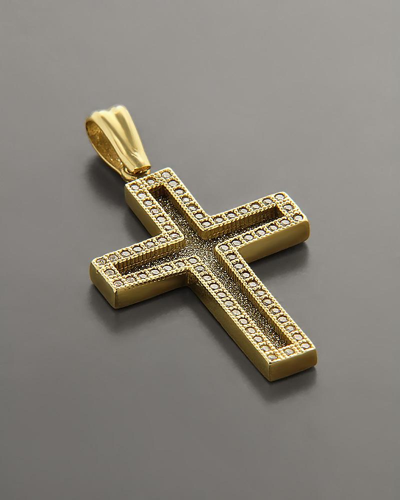 Σταυρός Βάπτισης Χρυσός Κ14 με Ζιργκόν   παιδι βαπτιστικοί σταυροί βαπτιστικοί σταυροί για κορίτσι