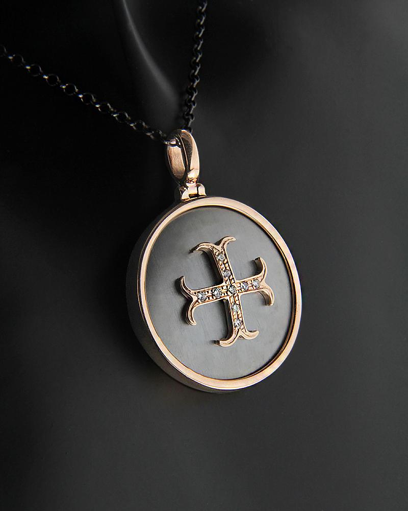 Κολιέ Σταυρός ροζ χρυσό Κ9 με Διαμάντια   κοσμηματα κρεμαστά κολιέ κρεμαστά κολιέ fashion