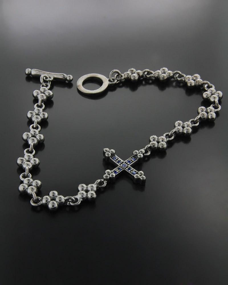 Χειροποίητο Βραχιόλι Σταυρός με Ζαφείρια   γυναικα βραχιόλια βραχιόλια διαμάντια