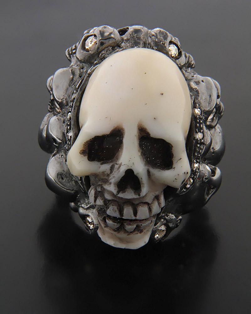 Χειροποίητο Δαχτυλίδι Νεκροκεφαλή με Διαμάντια   γυναικα δαχτυλίδια δαχτυλίδια ασημένια