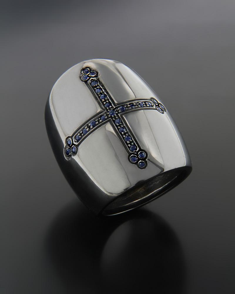 Χειροποίητο Δαχτυλίδι με Ζαφείρια   γυναικα δαχτυλίδια δαχτυλίδια ασημένια