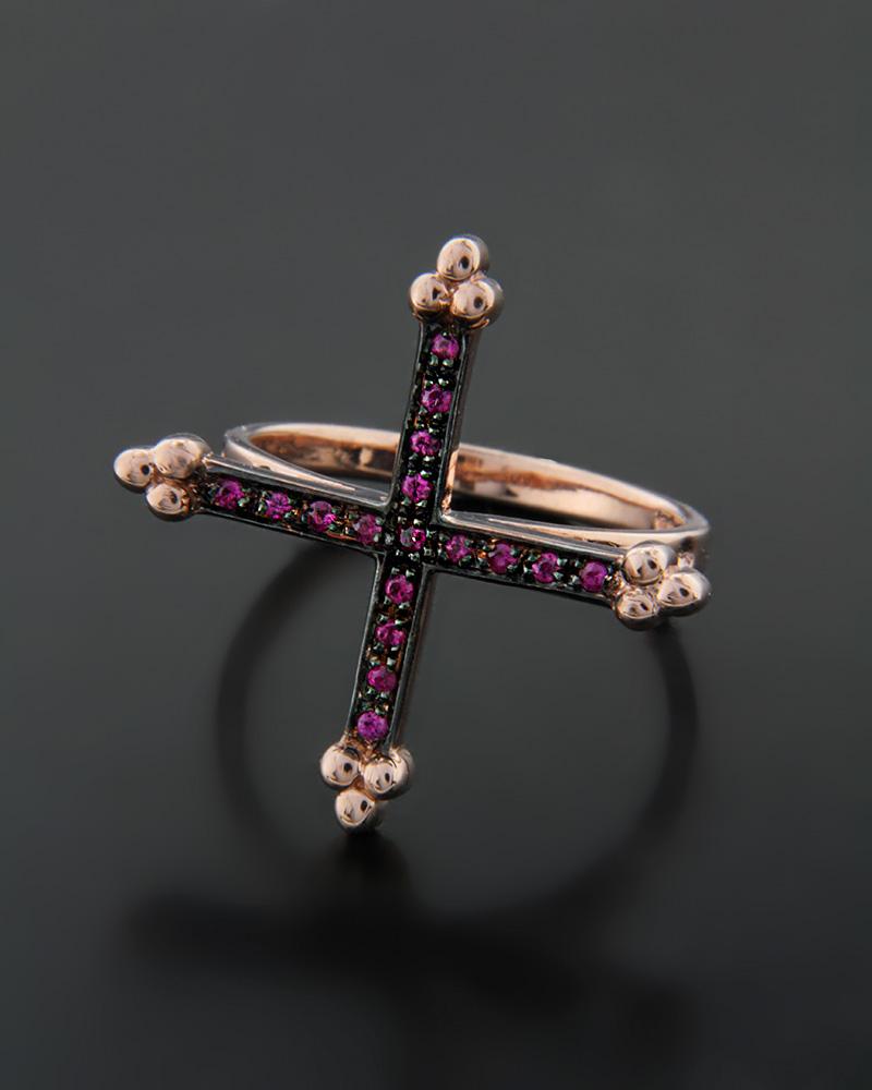 Χειροποίητο Δαχτυλίδι Σταυρός με ρουμπίνια   γυναικα δαχτυλίδια δαχτυλίδια ασημένια