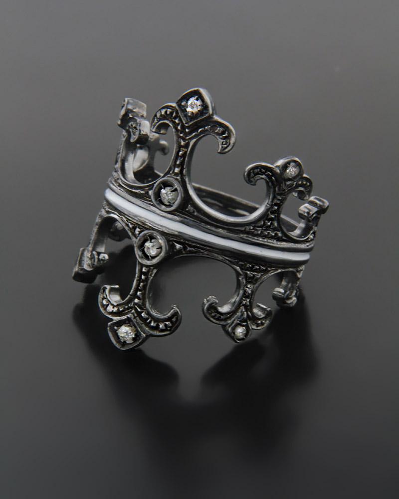 Χειροποίητο Δαχτυλίδι Στέμμα με διαμάντια   γυναικα δαχτυλίδια δαχτυλίδια ασημένια