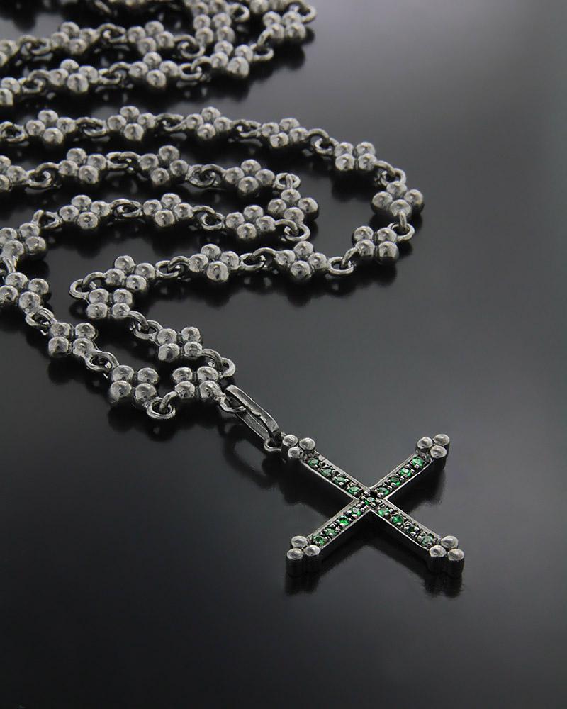 Χειροποίητο Κολιέ Σταυρός με Σμαράγδια   γυναικα κρεμαστά κολιέ κρεμαστά κολιέ διαμάντια