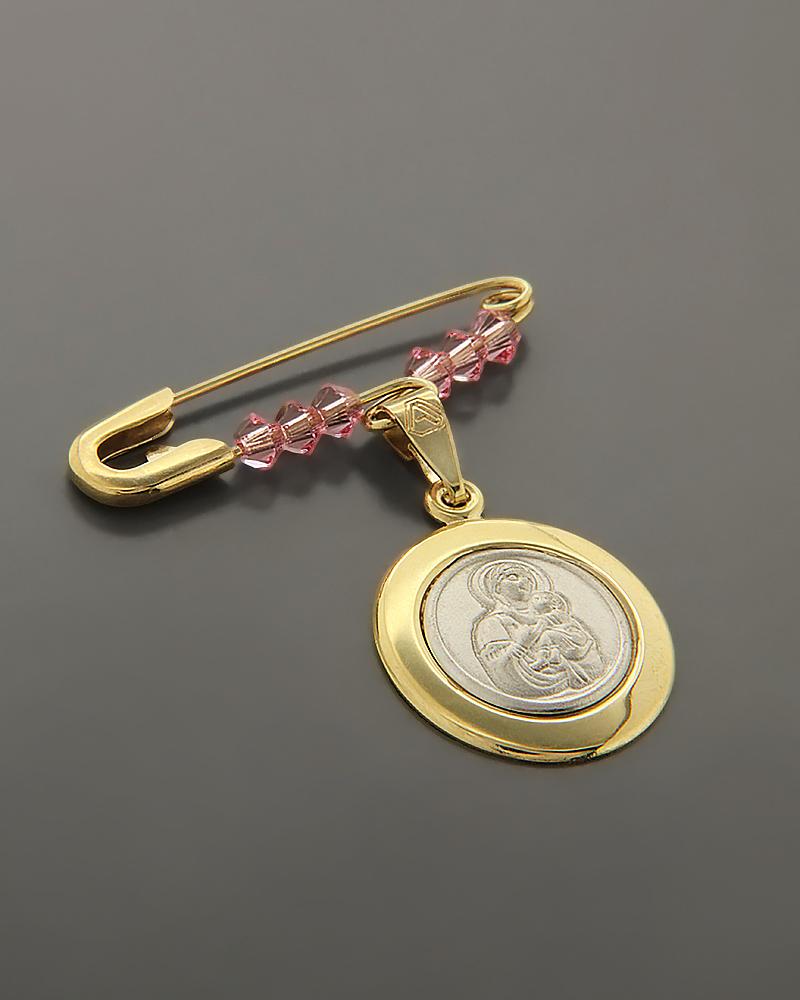 Φυλαχτό παιδικό χρυσό & λευκόχρυσο Κ9 με Swarovski   νεεσ αφιξεισ κοσμήματα παιδικά